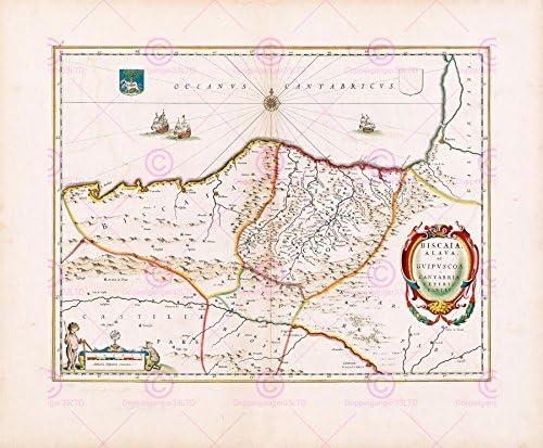 MAPA DE ESPAÑA DEL NORTE DE VIZCAYA 1662 BLAEU GRANDES VIEJOS BEGADI PÓSTER PAM0563: Amazon.es: Hogar