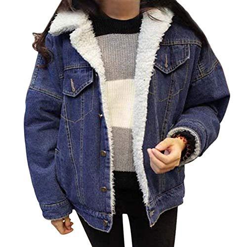Blu Jacket Maniche Elegante Giaccone Addensare Grezzi Fashion Donna Casual Outerwear Ragazze Stlie Grazioso Caldo Dunkelblau Cappotto Lunghe Invernali Jeans Giacca wCxn6Pq