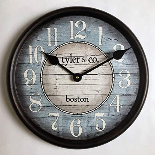 Boston Harbor Blue Wall Clock, Available in 8 Sizes, Most Sizes Ship The Next Business Day, Whisper Quiet.