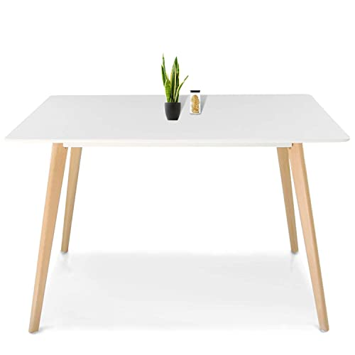 JERRY MAGGIE – Dinning Table Desk Large Family Size Wood Legs Stone Like Polish Surface Multi Purpose Work Study Living Room Kitchen Furniture Decor Modern Fashion Simple Dinner – Rectangle White