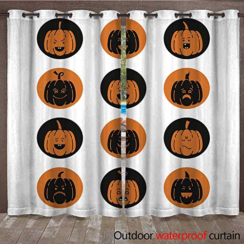 RenteriaDecor Home Patio Outdoor Curtain Halloween Pumpkin Set W72 x L108 -