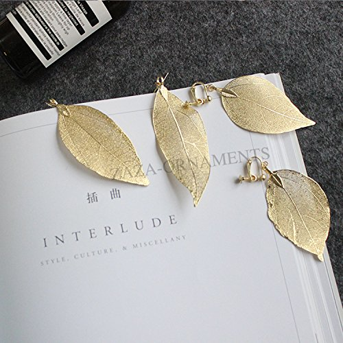 Openwork Leaf - European and American fashion personality exaggerated literary simple copper openwork gold leaf earrings ear clip female
