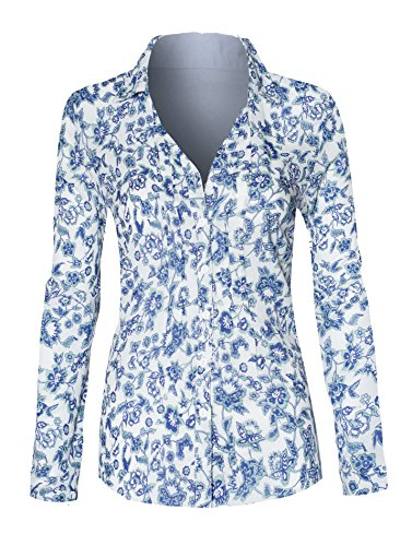 Women's Floral Rolled Sleeve Button Up V Neck High Low Loose Business Casual - Hilo Stores Mall