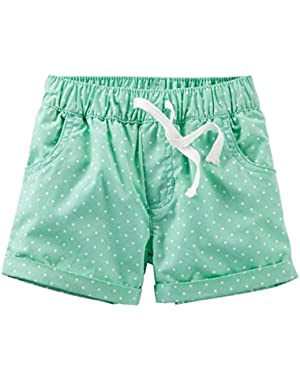 Carters Baby Clothing Outfit Girls Pull-On Polka Dot Poplin Shorts Mint