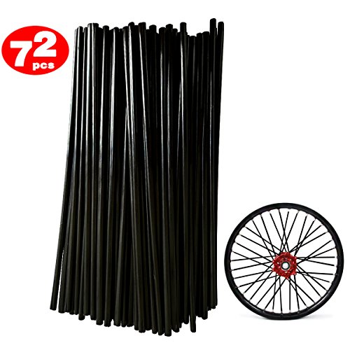 72Pcs/Lot Spoke Skin Covers, DIXIUZA Universal Protective Wheel Coil Wraps for Motorcycle Off-road SUV Bicycle (Black)