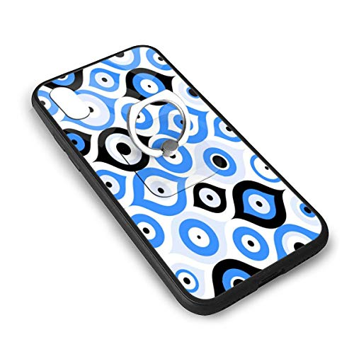 LGOPT Blue Greek Turkish Evil Eye Bead Good Luck Oriental Ottoman Pattern Fashion Personalized iPhone X/XS TPU Glass Phone Case with Square Stents