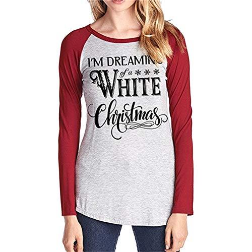 Style Manches Casaul T Lache Sweat Patchwork Top rouge Dame Chemise Shirt Dcontract Sport Longues Col Femme B Blouse Rond Shirt dEIqwIa