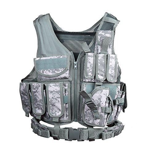 Goetland 600D Polyester Tactical Vest Outdoor Ultra-Light Combat Training Vest CS Adjustable S-XXL, ACU ()