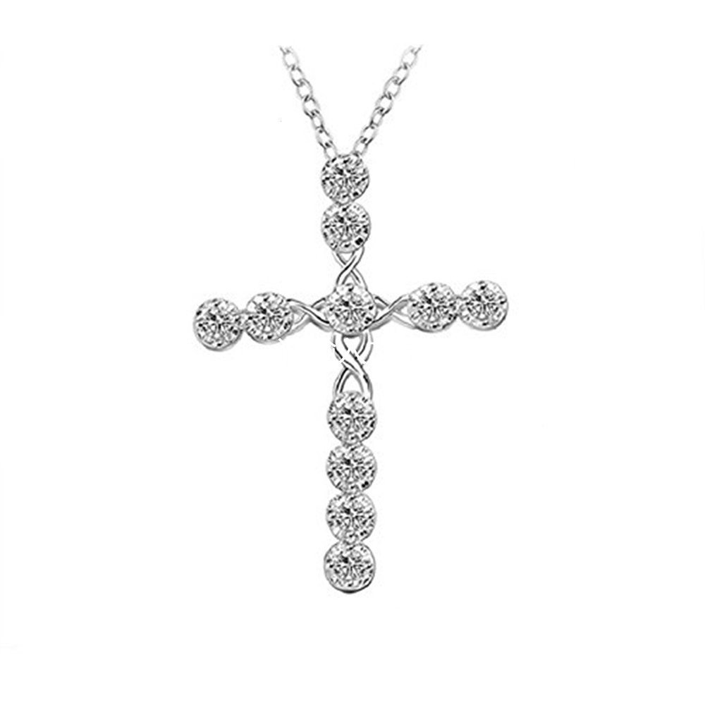 HOT Women 925 sterling Silver Rhinestone Crystal Cross Pendant Necklace Hilai