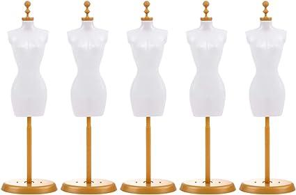 Artibetter 6pcs Doll Dress Form Mini Mannequin Dress Form Cloth Gown Clothes Gown Display Mini Mannequin Model Stand for Doll Display