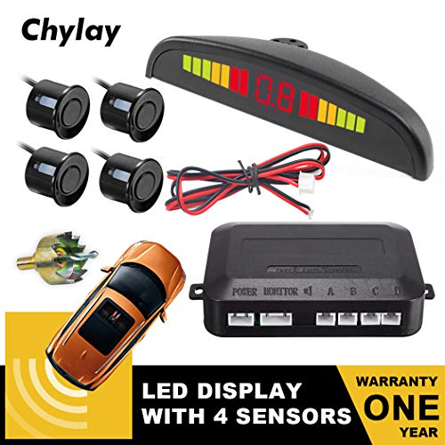 Chylay Backup Sensor LED Distance Display Car Vehicle Reverse Radar System with 4 Parking Sensors Sound Warning Buzzer Beep-Beep Alarm Indicator for All Cars Black
