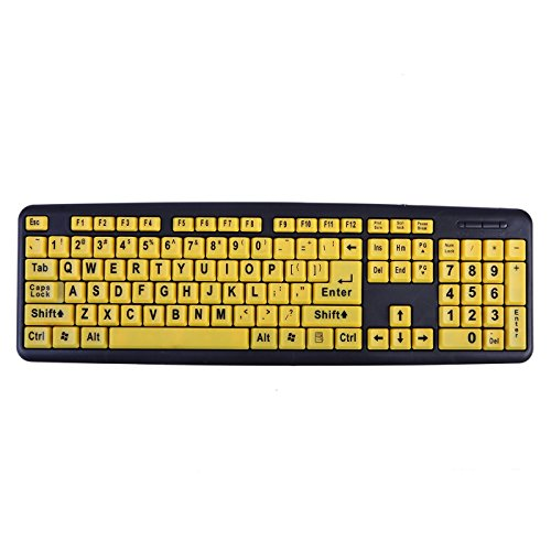 HDE Large Print Computer Keyboard Wired USB High Contrast Yellow with Black Oversized Letters for Visually Impaired Low Vision Individuals ()