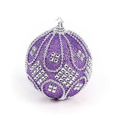 Hot AIMTOPPY Christmas Rhinestone Glitter Baubles Balls Xmas Tree Ornament Decoration 8CM (purple, free) (Bordered Tree)