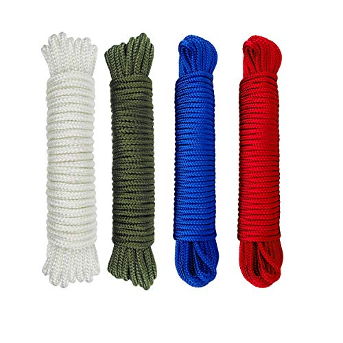 Nylon Rope 1/8 inch(3mm) Solid Braid,High Strength,UV Resistant,for Commercial, Anchors, Crafts, Blocks, Pulleys, Towing, Cargo, Tie-Downs,Wheel & Axles,Boat Docks(50 Feet x 4,Green/Blue/Red/White)