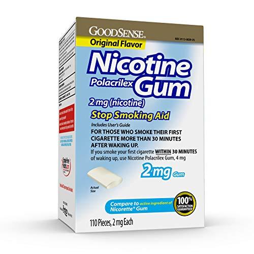 GoodSense Nicotine Polacrilex Uncoated Gum 2 mg (Nicotine), Original Flavor, Stop Smoking Aid; Quit Smoking with…