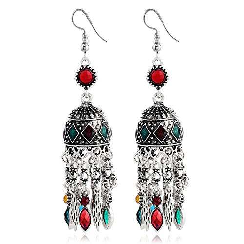 Domed Tassel (Vintage Bohemian Ethnic Alloy Rhinestone Resin Domed Tassel Long Dangle Earrings)