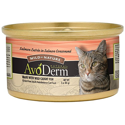AvoDerm Natural Wild By Nature Wet Cat Food, Salmon in Salmon Consomme, 3 Ounce Cans, Case of 24 (Best Cat Food For Healthy Coat)
