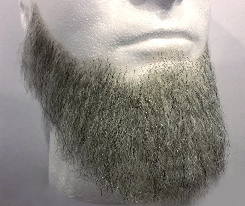 Rubies Full Character Beard LIGHT GREY - 100% Human Hair - no. 2024 - REALISTIC! Perfect for Theater and Stage - Reusable! -