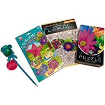 Arts and Crafts for Adults; Flower-theme; 500-pc Jigsaw Puzzle, Color To Music Adult Coloring Book (Free Music Download Code), Origami Paper Folding Kit, Novelty Flower Pen; 4-pc