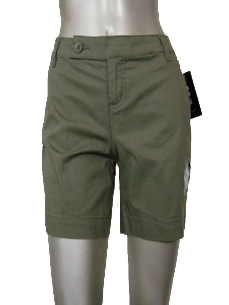 Style & Co Women's Cotton Blend Tummy Control Flat Front Shorts, Olive (4P Petite)