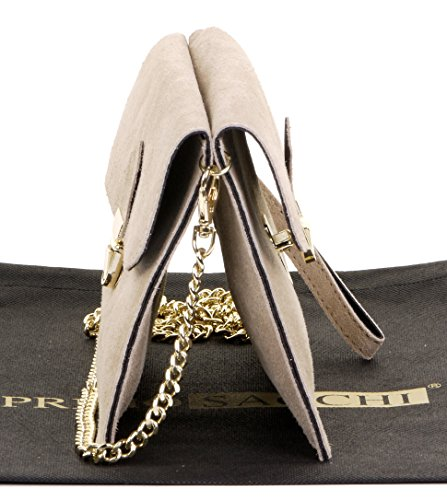 Light Shoulder Italian Ladies Bag Wrist Suede Beige Crossbody Push Primo Clip 2 Sacchi or Leather Handbag Bag 5wvqqZI