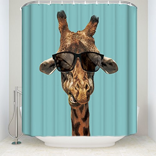 Giraffe Wildlife Animal Decor, Fun Whimsical Funny Giraffe Wearing Hipster Sunglasses Polyester Fabric Bathroom Shower Curtain - Bald Man Sunglasses