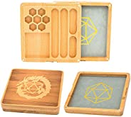 UDIXI 2 in 1 Wooden Dice Case & Dice Tray with Random Set of DND Dice, Dice Holder for DND, D&D, RPG,