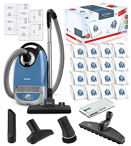 Miele Complete C2 Hard Floor Canister HEPA Vacuum Cleaner + SBB400-3 Parquet Twister XL Floor Brush Bundle Includes Miele Performance Pack 16 Type GN AirClean Genuine FilterBags + Genuine HEPA Filter (Best Vacuum Cleaner For All Floor Types)