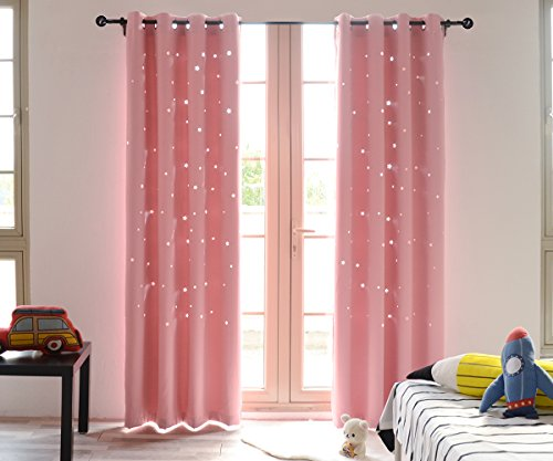 BUZIO 2 Panels Twinkle Star Kids Room Curtains with 2 Tiebacks, Thermal Insulated Blackout Curtains with Punched Out Stars for Space Themed Nursery and Bedroom (52 x 84 inches, Baby Pink)