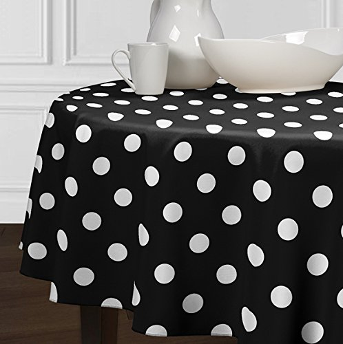 A LuxeHome Black and White Modern Contemporary Large Polka Tablecloths Dining Room Kitchen Round -