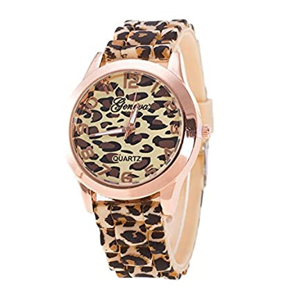 Quaanti Watches Women Fashion Unisex Geneva Leopard Silicone Jelly Gel Quartz Analog Wrist Watch Dropship Reloj