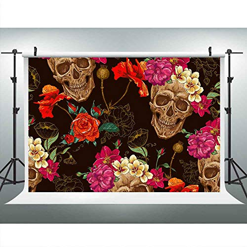 LUCKSTY Flower Skull Backdrops for Photography 9x6FT Day of The Dead Photo Backgrounds Theme Party Wall Paper Mural LUP612 -