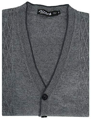 Zicac Mens V-Neck Jacquard Vest Knitwear Sweater Waistcoat