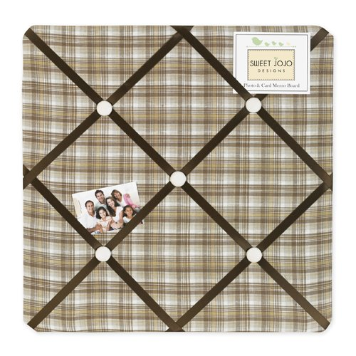 Sweet Jojo Designs Chocolate Teddy Bear Fabric Memory/Memo Photo Bulletin Board ()