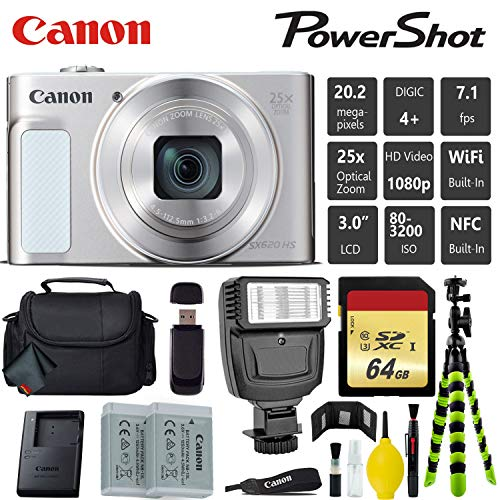 Canon PowerShot SX620 HS Digital Point and Shoot 20MP Camera (Silver) + Extra Battery + Digital Flash + Camera Case + 64GB Class 10 Memory Card - International Version