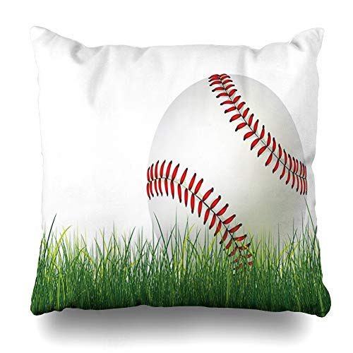 (Ahawoso Throw Pillow Cover Baseball Ball On Grass Graphics Sports Recreation Run Softball American Equipment Fastball Design Home Decor Pillow Case Square Size 18 x 18 Inches Zippered Pillowcase)