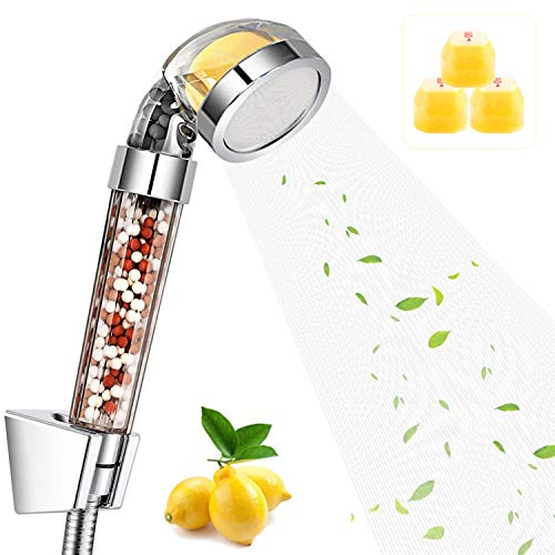 Gyrategirl Vitamin C Filter Shower Head with 3 Lemons Replacement Balms Handheld Chlorine Remove High Pressure Shower Head Citrus Smell Hard Water Softener for Dry Skin/Hair Loss/Air Purifies