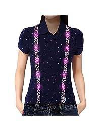 LED Suspenders,LED Light Up Suspender with Clip-on Y-back Adjustable Clip(leopard Style) (Pink)