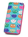 Long Zip Around Wallets for women, Print Lovely Animal Cat