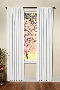 Cotton Craft - Set of 2 - 100% Pure Cotton Duck Reverse Tab Top Window Panels - 50x96 White - Classic Elegance for a Clean Crisp Look