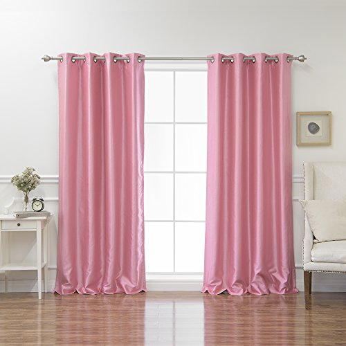 - Best Home Fashion Pink Dupioni Faux Silk Grommet Top Blackout Curtain 96