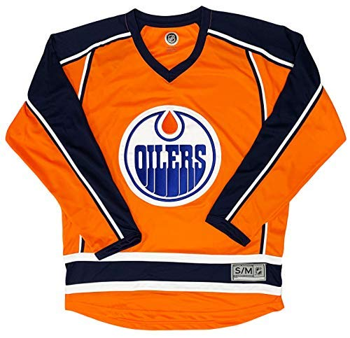 Edmonton Oilers Orange Blank Men's 2 Stripe Team Apparel Jersey (Small/Medium)