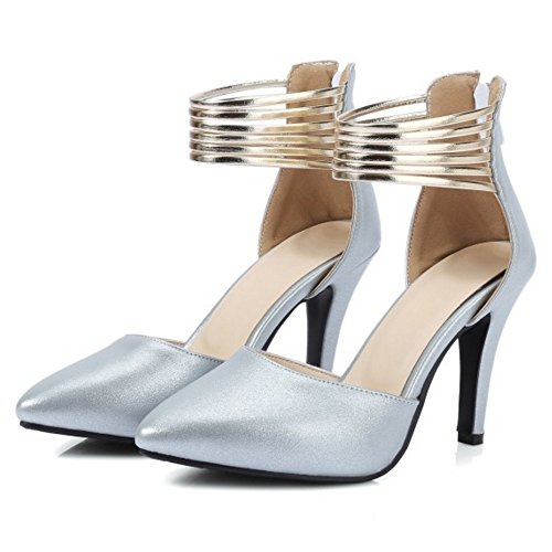 COOLCEPT Mujer Moda Correa de Tobillo Sandalias Tacon de Aguja Cerrado Zapatos Cremalleraper Tamano Plata