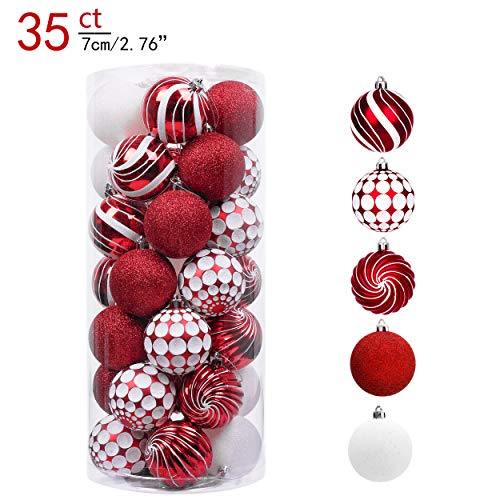 Valery Madelyn 35ct 70mm Sweet Candy Red and White Shatterproof Christmas Ball Ornaments Decoration,Themed with Tree Skirt(Not Included)