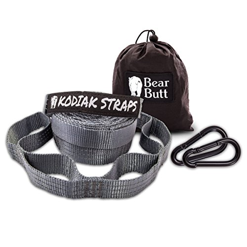 """Bear Butt Kodiak Straps #1 Best Tree Straps (With 2 FREE Carabiners)START UP COMPANY """"Shaking The Eagle Out Of The Nest Since 2015"""" (Reflective Gray / Gray)"""