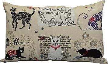 "Cojín decorativo cojines vintage-style ""gatos"" nuevo aprox 55 cm x 35"