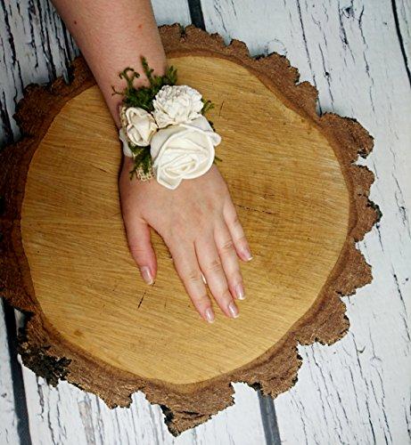 Rustic Wedding Wrist Corsage Ivory Green Burlap Bridesmaid