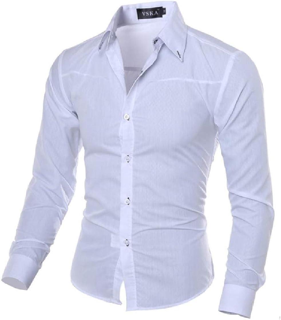Joe Wenko Mens Turn Down Fashion Long Sleeve Tops Checkered Button Up Shirts