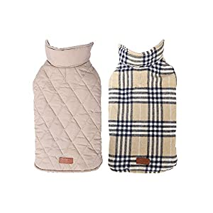 Vstart Pet Dog Jacket Vest Windproof Winter Garment Waterproof Clothing Waistcoat Winter Warm Clothes Reversible Design Apparel Grid Plaid Dog Coat for Small Medium Large Dogs with Collar