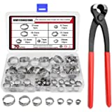 WMYCONGCONG 70 PCS 304 Stainless Steel Single Ear Hose Clamps Pinch Clamp Assortment Kit with Ear Clamp Pincer for…